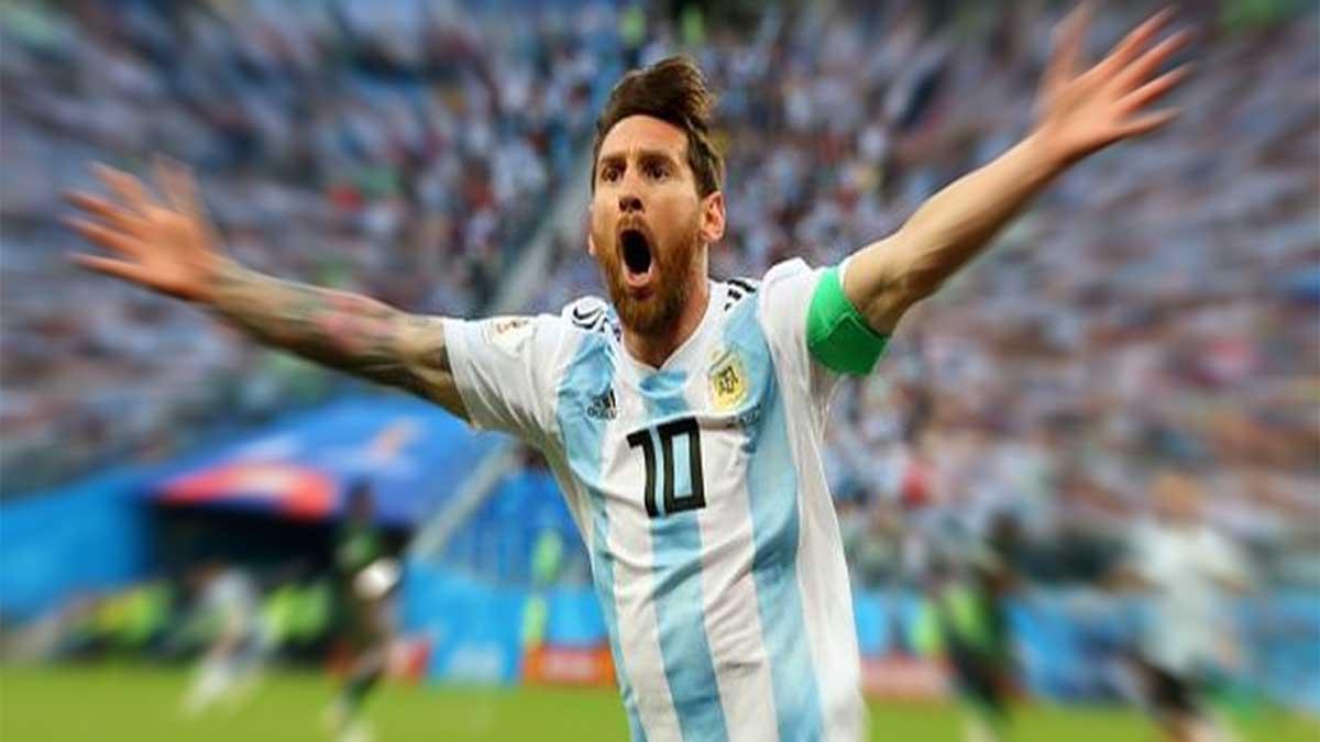 Leo Messi y otros jugadores de futbol